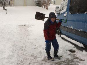 Mark shoveling